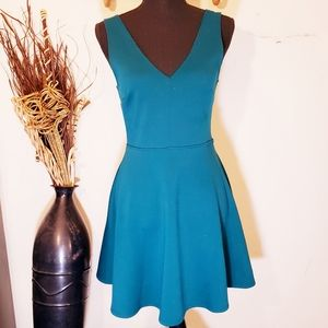 Forever 21 fit and flare teal green dress Medium